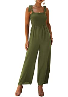 HEFASDM Womens Pocketed Button Solid Premium Cotton Playsuit Jumpsuits