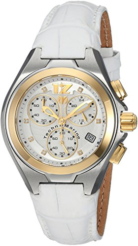 Technomarine Women's 'Manta' Quartz Stainless Steel and Leather Casual Watch, Color:White (Model: TM-215026) (Stainless Chronograph New Steel Technomarine)