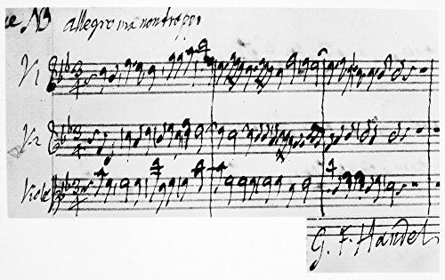 Handel Music Sheet Npart Of A Concerto Identical With The Chorus And The Glory Of The Lord In The Messiah From An Autograph 18Th Century Manuscript By George Frederick Handel ()