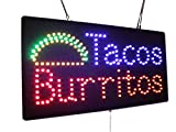 Tacos Burritos Sign, Super Bright LED Open Sign, Store Sign, Business Sign, Windows Sign, LED Sign