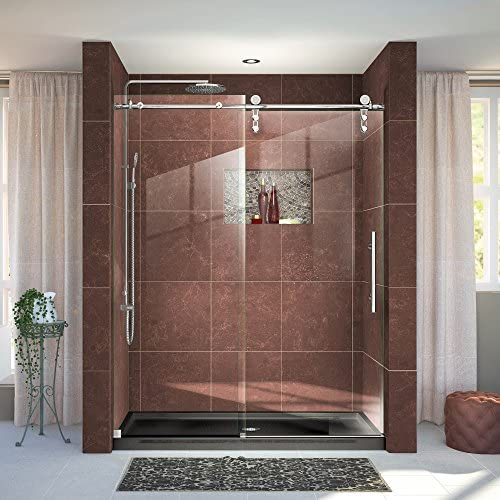 DreamLine Enigma-Z 56-60 in. W x 76 in. H Fully Frameless Sliding Shower Door in Polished Stainless Steel, SHDR-6260760-08