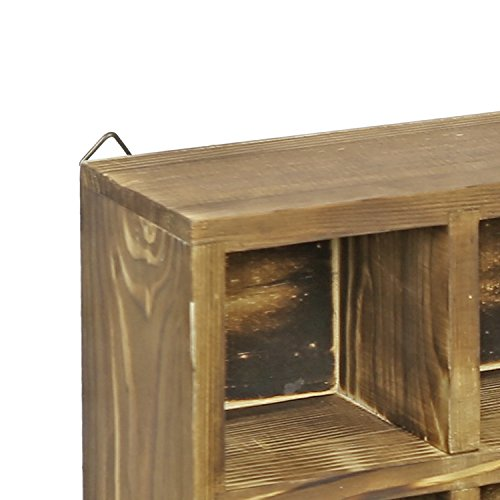 12 Compartment Torched Wood Freestanding or Wall Mounted Shadow Box, Display Shelf Shelving Unit by MyGift (Image #5)