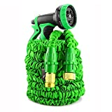 IBeaty Lightweight 50ft/100ft/150ft Expandable Garden Hose Magic Flexible Water Hose with 3/4Inch Solid Brass Ends 8 Position Spray Nozzle (50FT, Green)