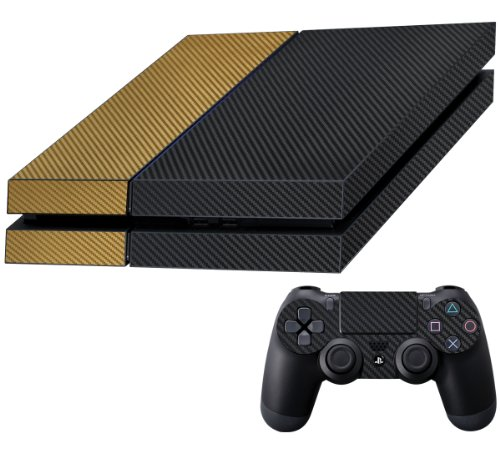 Decalrus - Sony PlayStation 4 PS4 FULL BODY BLACK & GOLD Texture Carbon Fiber skin skins decal for case cover wrap CFps4BlackGold