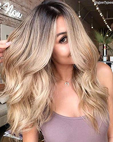LaaVoo 14inch Balayage Front Lace Wig Human Hair Highlight Dark Brown Root  to Ash Blonde Wavy Ombre Remy Human Hair Wig 130% Density Free Part