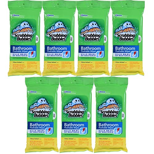 Scrubbing Bubbles Flushable Wipe - Scrubbing Bubbles Antibacterial Bathroom Flushable Wipes Youde, 28 Count, 7Pack