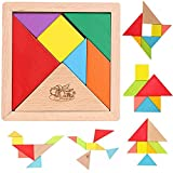 MousePotato 7 pc Wooden Tangram Puzzle with tray Brain Development toy