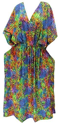 LA LEELA Trajes de baño del Traje de baño del Vestido caftán caftán Camisa de Dormir Aloha rayón Mano Maxi de Las Mujeres Multicolor_m628
