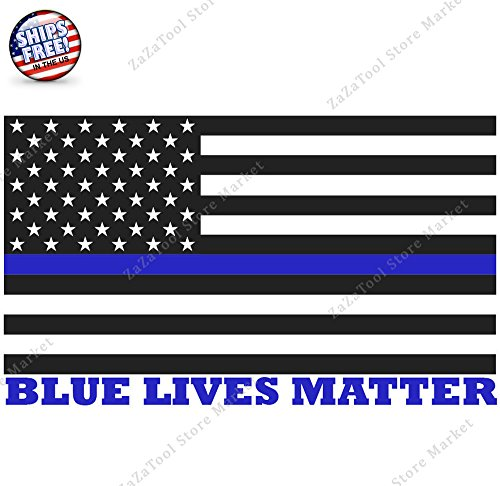 "ZaZaTool - 6"" Blue Lives Matter American Flag Car Truck Cup Laptop Window Bumper Decal - Goggles Tommy"
