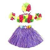 5Pcs Hawaii Tropical Hula Grass Dance Skirt Flower Bracelets Headband Bra Set 40cm (Purple Skirt)