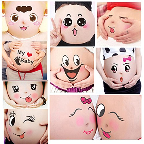 Pregnancy Belly Painting Kit - TAFLY 10 Sheets Facial Expressions Pregnancy Baby Bump Belly Stickers Maternity Week Stickers