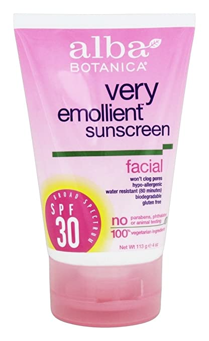 Alba Botanica Very Emollient Facial Sunscreen, Spf 30, 4 Oz, 6 Pack Neutrogena Oil-Free Moisture Facial Moisturizer, Sensitive Skin 4 oz (Pack of 4)