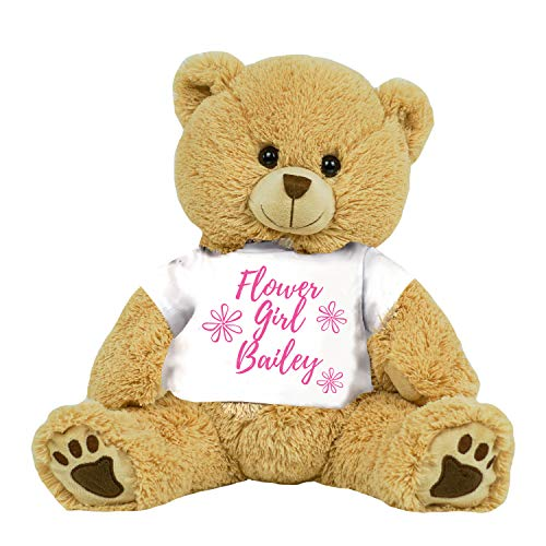 PaperGala Personalized Flower Girl Teddy Bear 16 inch Tan Plush Gift for Wedding Party ()