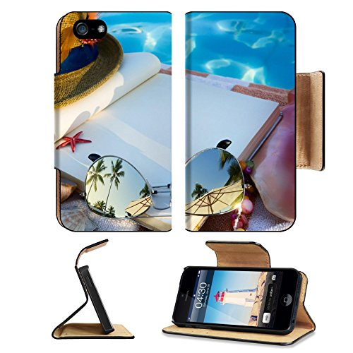 MSD Premium Apple iPhone 5 iphone 5S Flip Pu Leather Wallet Case art Straw hat book and Sunglasses on the beach iPhone5 IMAGE - Sunglasses Emoji Copy