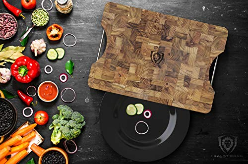 DALSTRONG Lionswood End-Grain Teak Cutting Board - Large - w/Steel Carrying Handles by Dalstrong (Image #2)