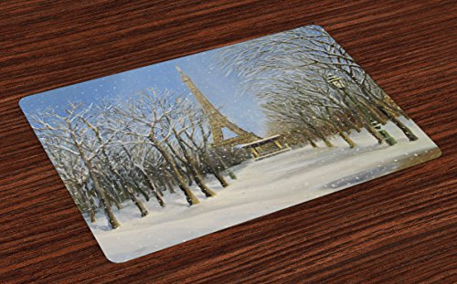 Ambesonne Country Place Mats Set of 4, Winter Scene of Historical Eiffel Tower in Paris Snowy City Europe Urban View, Washable Fabric Placemats for Dining Table, Standard Size, Blue Grey (Best Restaurants In Paris With A View)