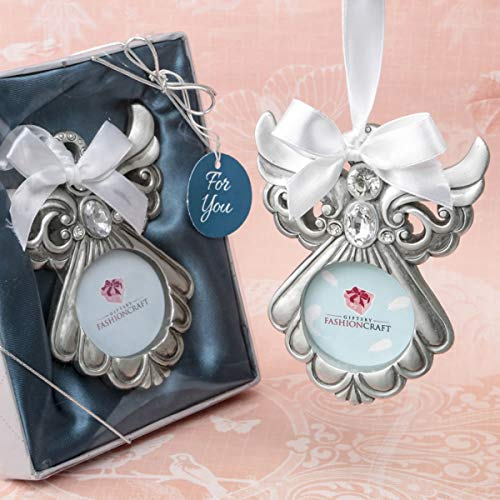 Silver Tone Guardian Angel Ornament with Picture Frame, 3 1/2 Inch - Pewter Angel Photo Frame
