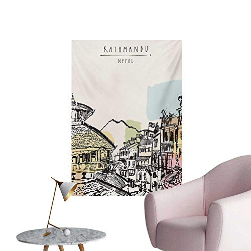 Anzhutwelve Nepal Wallpaper Hand Drawn Temples of Durbar Mountains and Buildings in Kathmandu Tourist AttractionMulticolor W32 xL48 Custom Poster
