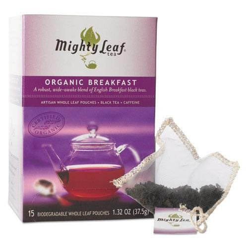 14 Ounce Organic Cotton (Mighty Leaf Tea Whole Leaf Tea Pouches, Organic Breakfast Blend, 15/Box)
