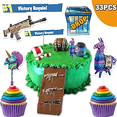 Peachy Well Buy 33Pcs Video Games Party Supplies Cake Toppers Cupcake Funny Birthday Cards Online Hendilapandamsfinfo