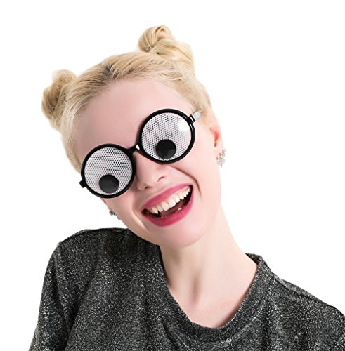 Googly Eyes Glasses - Plastic Round Party Favors, Novelty Shades, Party Toys, Funny Costume Glasses Accessories for Kids & Adults -