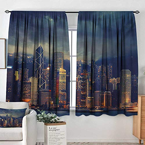 - Mozenou Cityscape Blackout Window Curtain Hong Kong Cityscape Stormy Weather Dark Cloudy Sky Waterfront Port Dramatic View Blackout Draperies for Bedroom 55