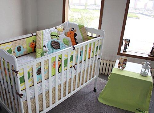 100 Cotton Percale Crib Bumper Pad Safari Blue Berry
