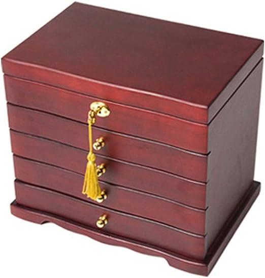 Joyero Caja joyero de madera maciza con acabado caja decorativa ...