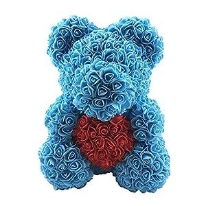 fanmaosdf Teddy Bear Rose Love Heart Foam Rose Flower Lovely Bear Valentine's Day Birthday Romantic Gift Light Blue 76