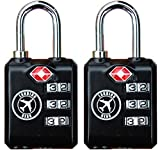 TSA Lock Heavy Duty 3 Digit Combination Luggage lock Travel Security Approved (Black 2 Pack)