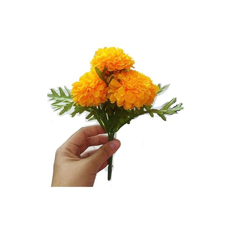 silk flower arrangements goodgoodsthailand thai artificial yellow marigold bunch, artificial flowers, marigold flowers, yellow flower, marigold yellow, calendula officials (5 stem per 1 case)