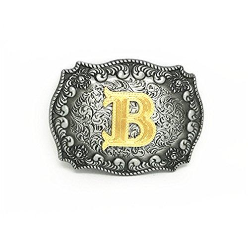 KeCol Adult Mens Initial Letters Western Cowboy Alphabet Rodeo Belt Buckle Letter B