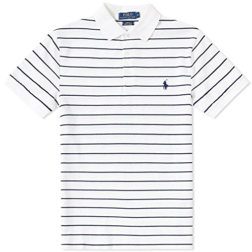 Polo Ralph Lauren Men's Striped Polo Shirt Custom Fit (M, White/Newport - Polo Ribbed Shirt Striped