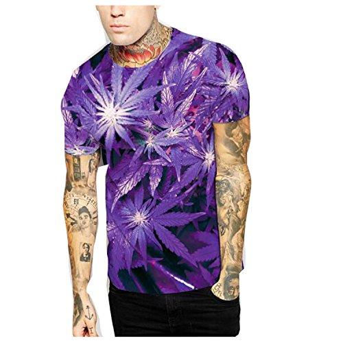 [Elakaka Purple Maple Printed Men 's Short Sleeve T - Shirt(Size,XL)] (Hottest Cheerleader Outfits)