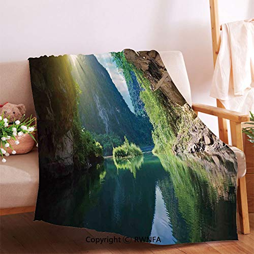 AngelSept Mountain and Sky View from The Grotto Viatnemese Tam COC Park Myst Nature Photo Throw Blanket for Couch.Anti-Wrinkle Function, Suitable for Living Room Sofa(54