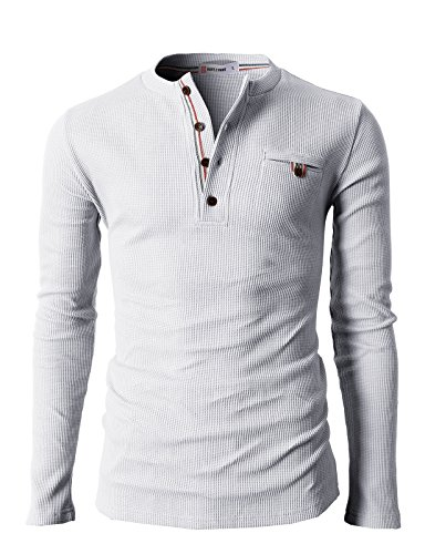 H2H Mens Casual Slim Fit Henley Shirts with Bound Pocket of Waffle Cotton White US S/Asia M (KMTTL062)