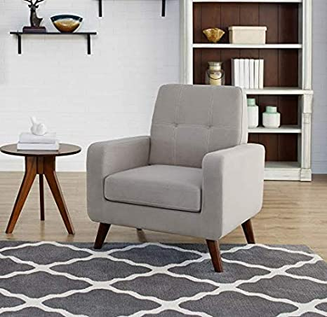 Dazone Accent Chair Modern Armchair Upholstered Linen Fabric Single Sofa  Chair Living Room Furniture Grey