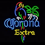 FS Neon Sign Corona Extra Parrot Bird Right Palm Tree Handcrafted Real Glass Tube Neon Sign Neon Light Neon Beer Sign Beerbar Sign19x15