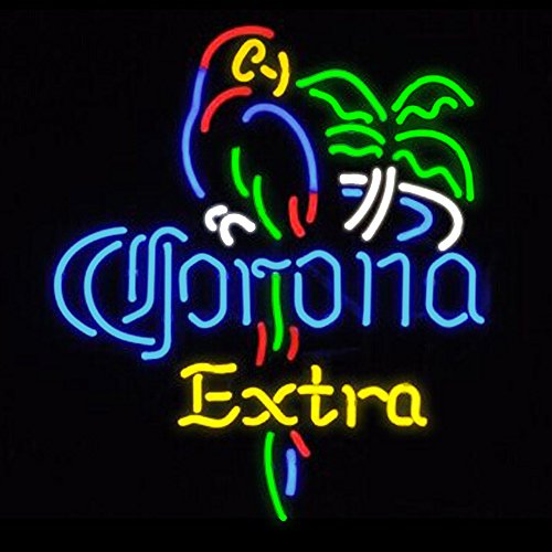 FS Neon Sign Corona Extra Parrot Bird Right Palm Tree Handcr