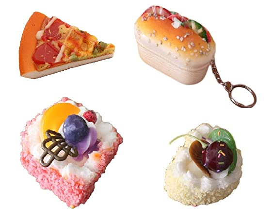 GeekGoodies Pizza Burger Food Pastry  Just Yummy Fridge Magnets  Multicolour   Combo of 4