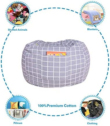 Stuffed Animal Storage Bean Bag Chair Cover 38X38 Inches Extra Large 100 Cotton Canvas Bean Bag Chair