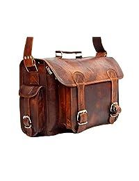 "HIDE 1858 TM Genuine Leather Camera Office Satchel Bag 15"""