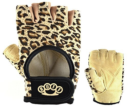 Leopard Weightlifting Gloves By RUFF  BEST Women's Workout Gloves, 100% Vegan Leather, Comfortable...