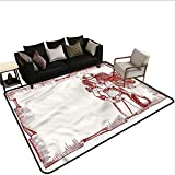 Western,Front Mat Home Decorative Carpet 60'x 72' Sexy Young Cowgirl Lasso Bath Rugs for Bathroom Non Slip