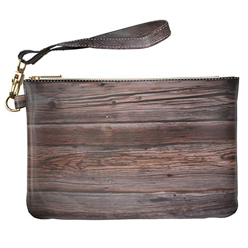 Lex Altern Makeup Bag 9.5 x 6 inch Dark Polished Oak Texture Grain Scratch Pattern Purse Pouch Cosmetic Travel PU Leather Case Toiletry Women Zipper Bathroom Storage Wristband Girl Accessories Design