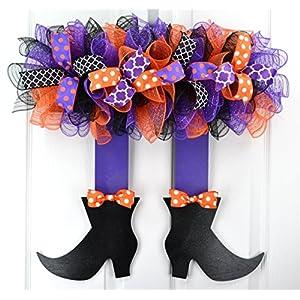 Halloween Wreath Witch Legs | Skirt Mesh Front Door Wreath; Black Orange Purple 59