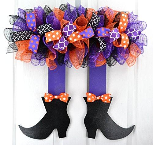Halloween Wreath Witch Legs | Skirt Mesh Front Door Wreath; Black Orange -