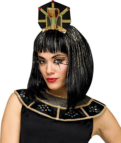 Deluxe Black Cleopatra Costumes Wig (Deluxe Egyptian Queen Snake Headpiece Headband Cleopatra Costume Accessory Hat)