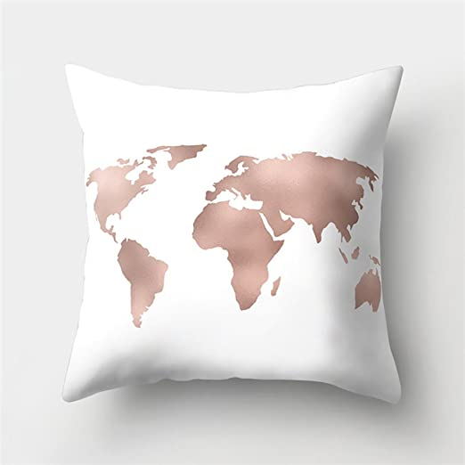 Kissenbezug Kissenbezuge Weltkarte Drucken Deko Kopfkissen Bezug