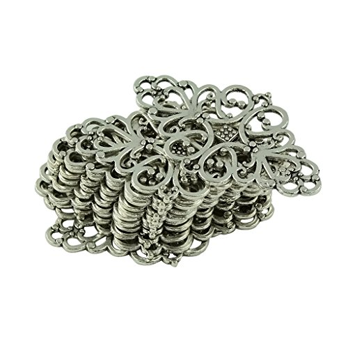 MagiDeal 20Pcs Tibetan Silver Filigree Flower Pattern Connector Jewelry DIY Making ()